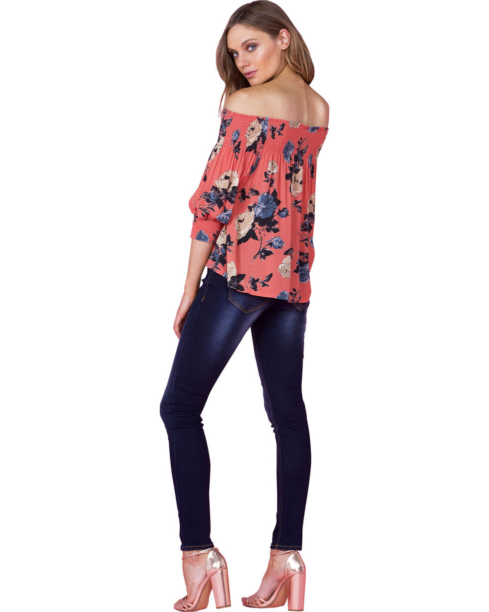"""Miss Me Women's """"Nothing But Roses"""" Off The Shoulder Top, Coral, hi-res"""
