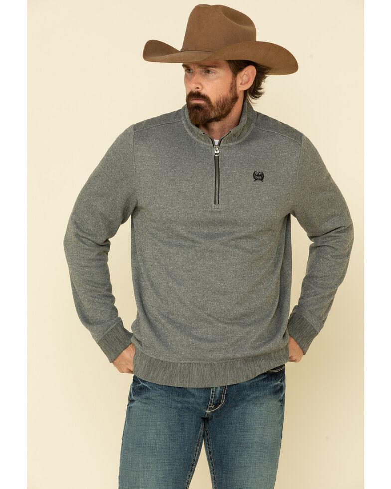 Cinch Men's Grey 1/4 Zip Sweater Knit Pullover Sweatshirt , Grey, hi-res