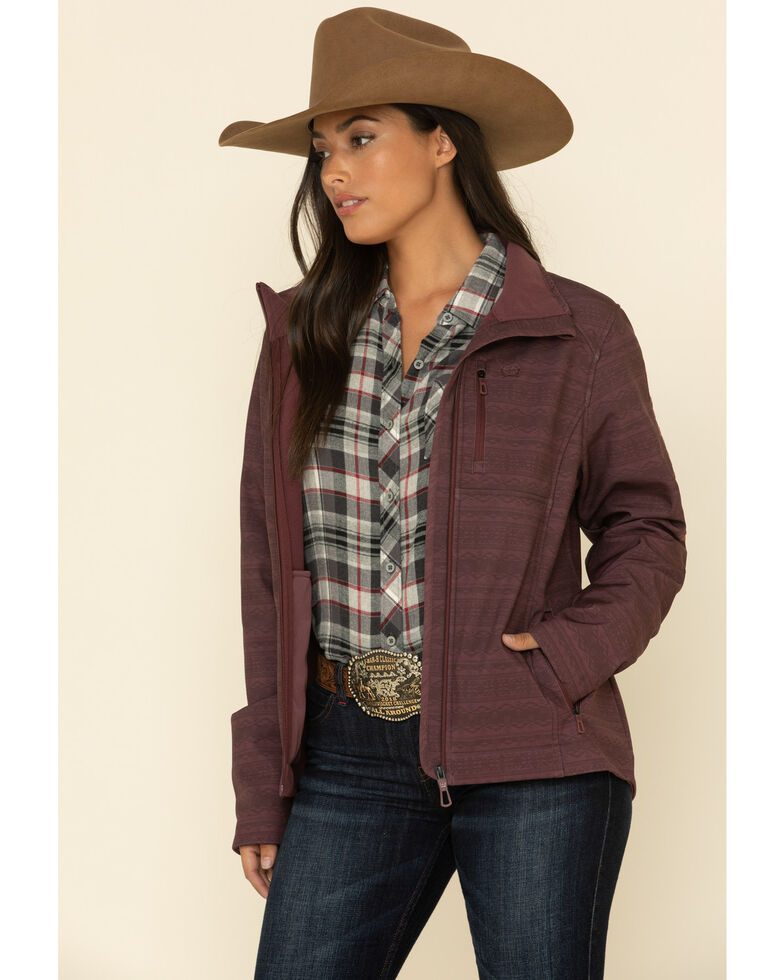 Cinch Women's Burgundy Print Bonded Jacket  , Burgundy, hi-res