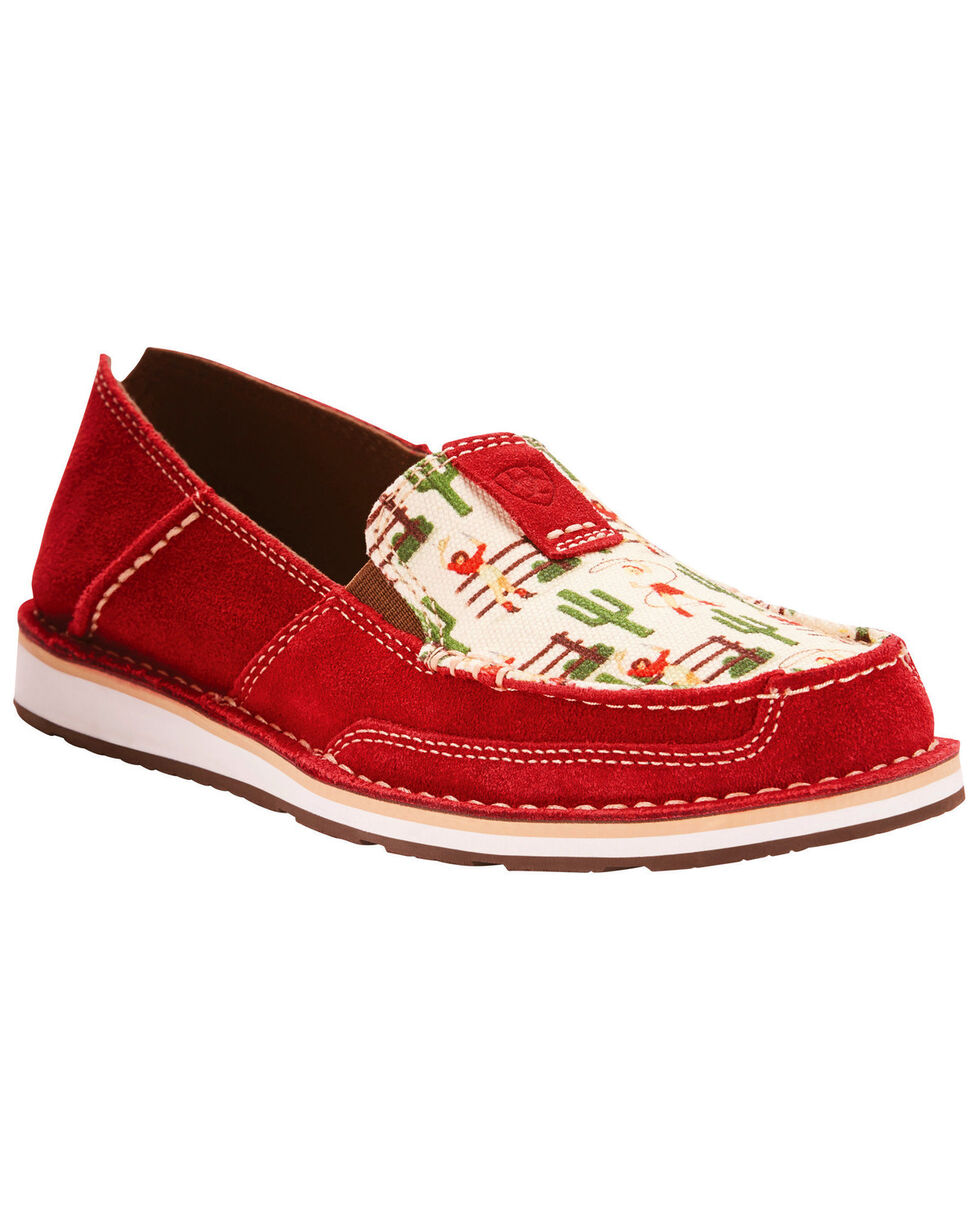 Ariat Women's Vintage Cowgirl Print Cruiser Slip On Shoes - Moc Toe, Red, hi-res