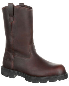 Georgia Boot Men's Homeland Pull-On Work Boots - Steel Toe, Brown, hi-res