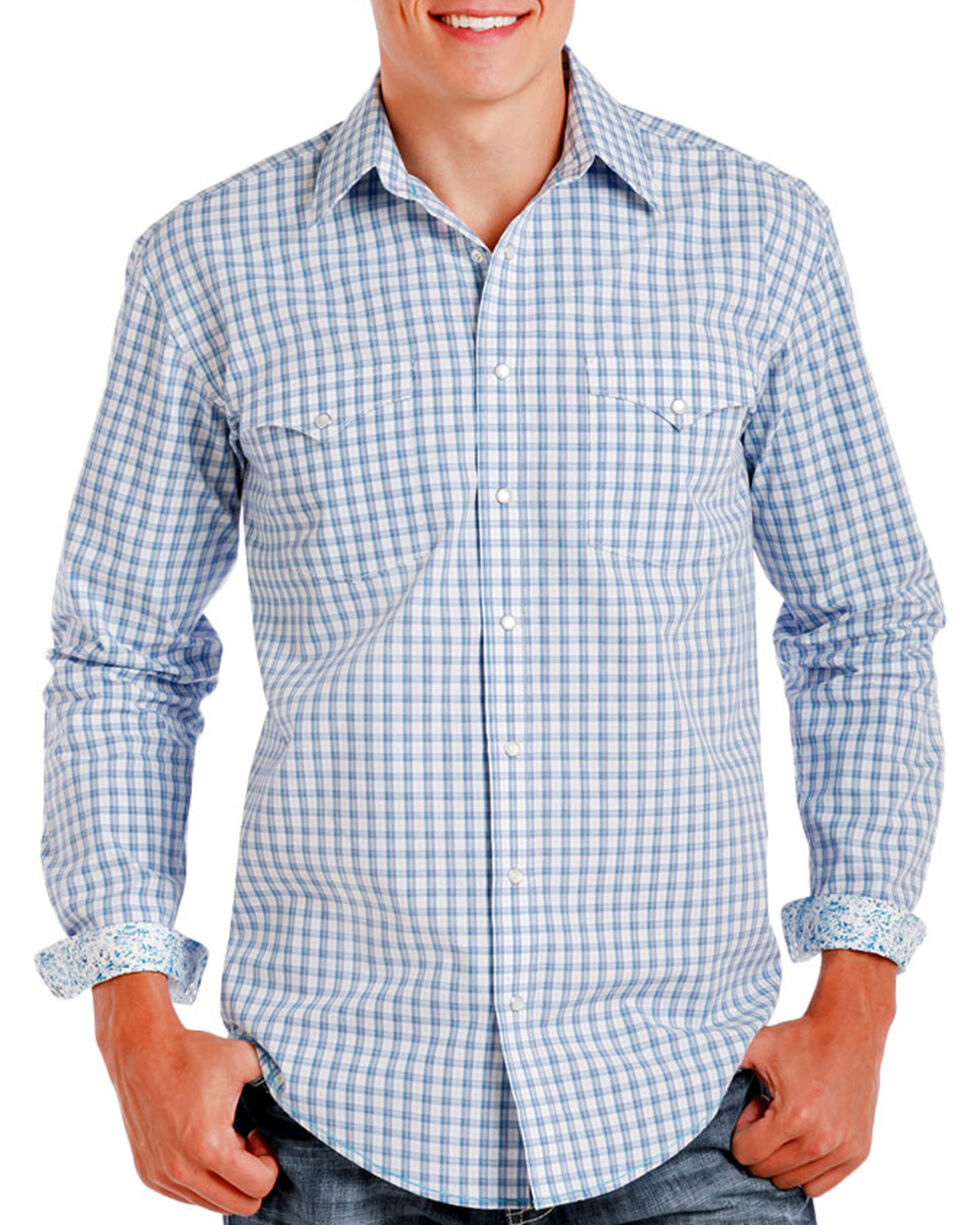 Rough Stock by Panhandle Men's Checkered Patterned Long Sleeve Shirt, Blue, hi-res