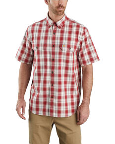 Carhartt Men's Dark Red Plaid Original Fit Midweight Short Sleeve Work Shirt - Big , Dark Red, hi-res