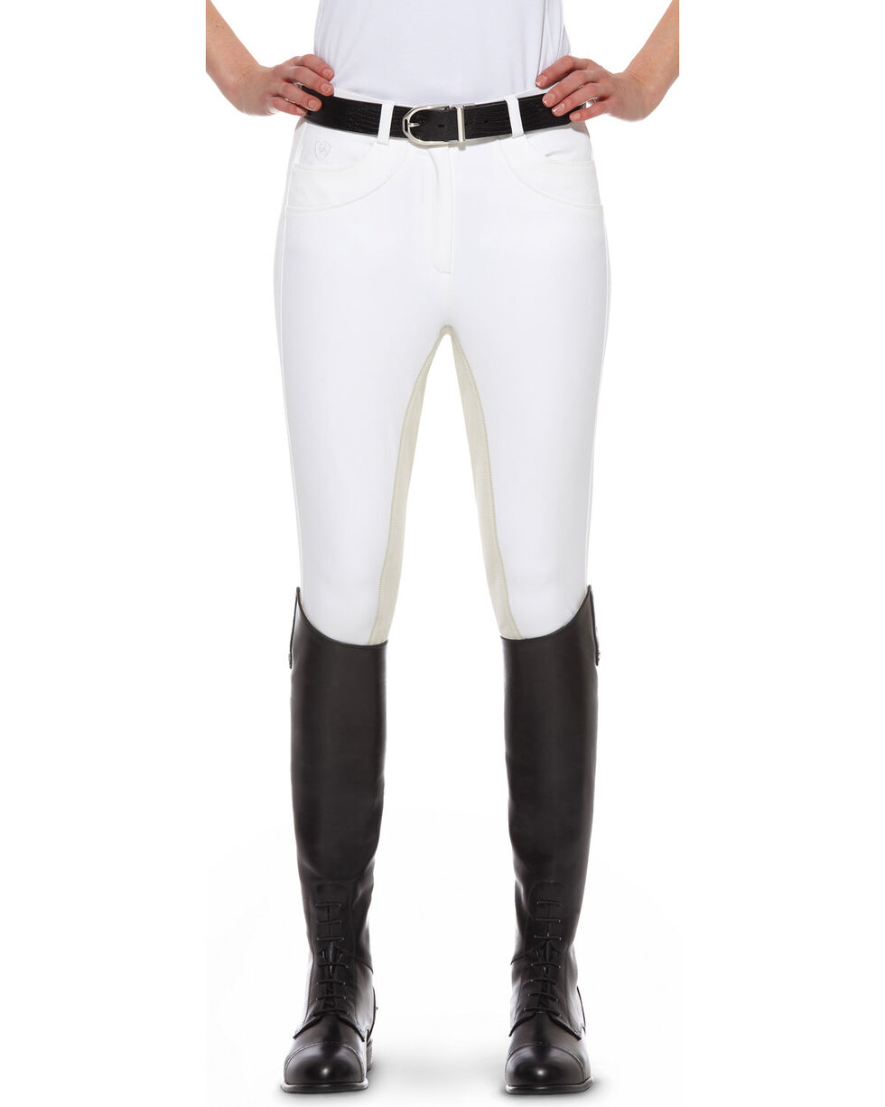Ariat Women's Olympia Zip-Front Regular Rise Full Seat Breeches, White, hi-res