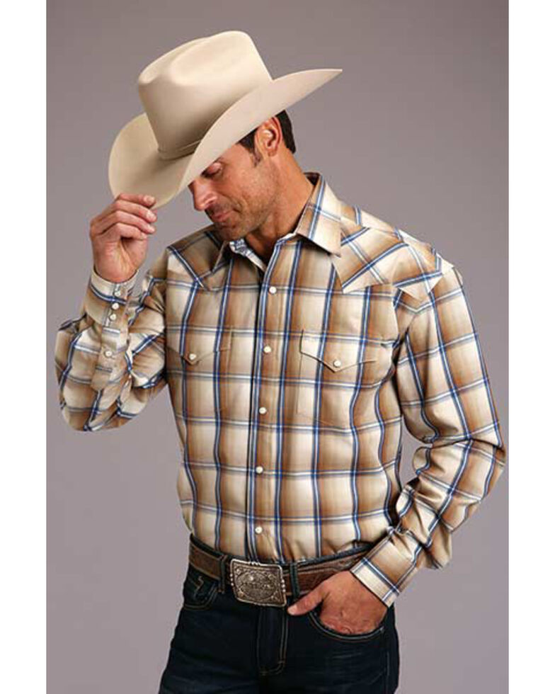 Stetson Men's Wheat Ombre Plaid Long Sleeve Western Shirt , Brown, hi-res