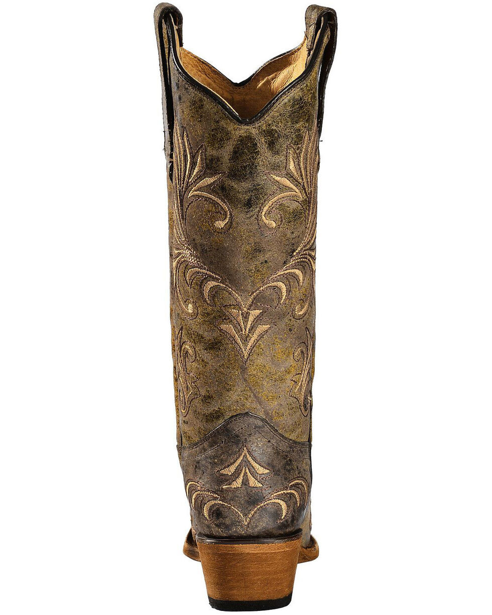 Circle G Women's Distressed Filigree Embroidered Western Boots, Green, hi-res