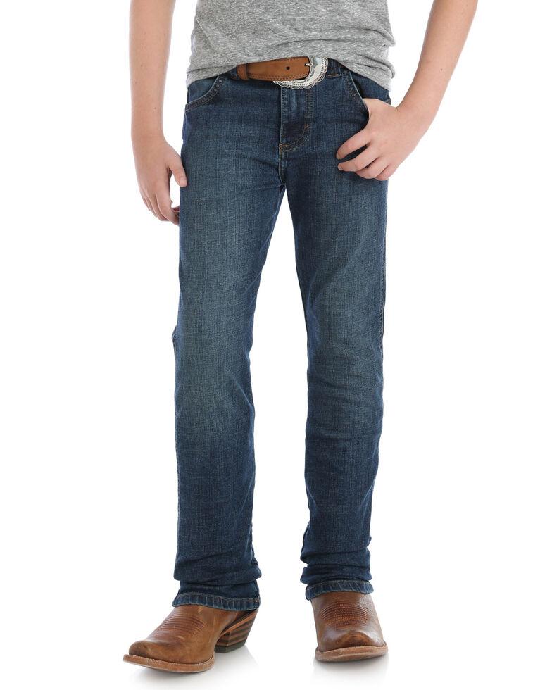 Wrangler Retro Boys' Red River Dark Slim Straight Jeans , Blue, hi-res