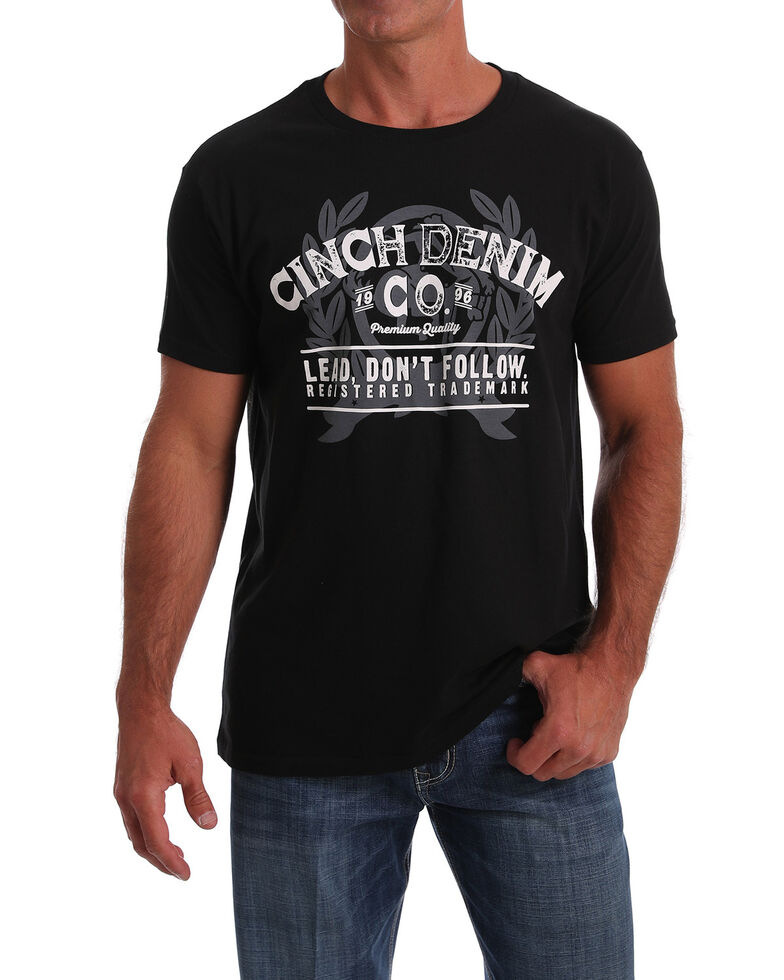 Cinch Men's Black Denim Co. Logo Graphic T-Shirt , Black, hi-res