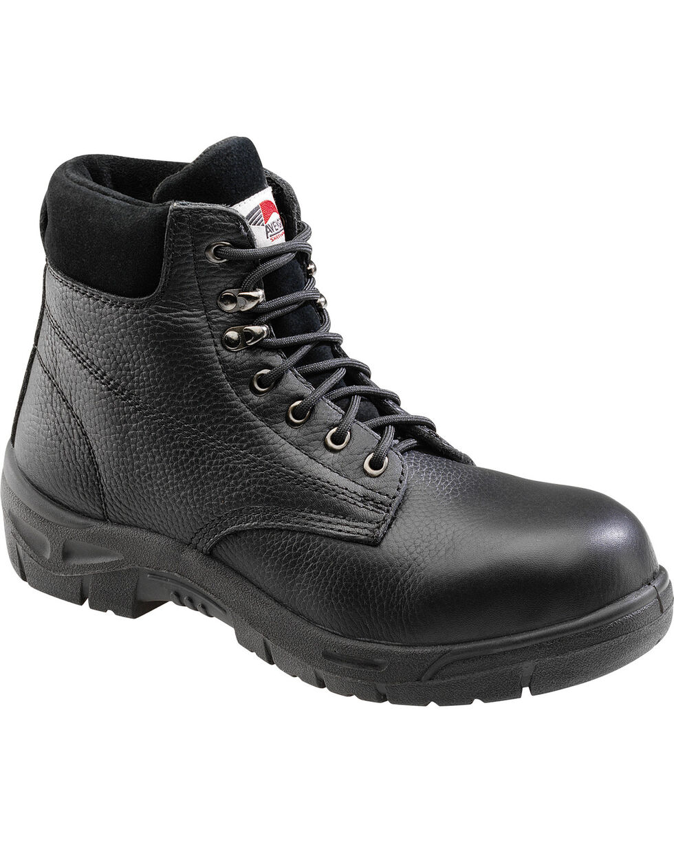 Avenger Men's Black Pebbled Leather Anti-Slip Work Boots - Steel Toe, Black, hi-res