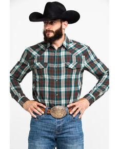 Cody James Men's Bronco Plaid Long Sleeve Western Flannel Shirt , Dark Brown, hi-res
