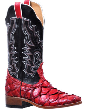 Boulet Women's Pirarucu Red Shiny Cowgirl Boots - Square Toe, Red, hi-res