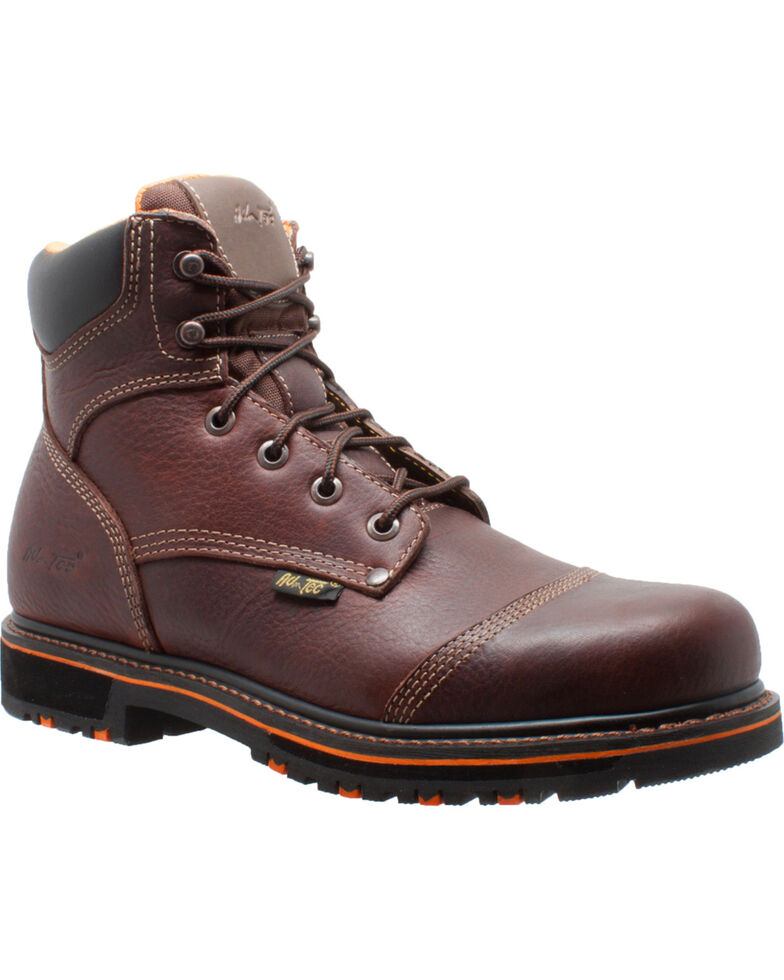 "Ad Tec Men's 6"" Tumbled Leather Comfort Work Boots - Soft Toe, Dark Brown, hi-res"