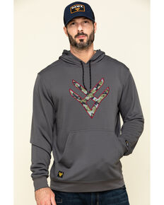 Hawx Men's Grey Tech Logo Hooded Work Sweatshirt , Dark Grey, hi-res