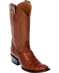 Ferrini Alligator Belly Exotic Cowboy Boots - Square Toe, Cognac, hi-res