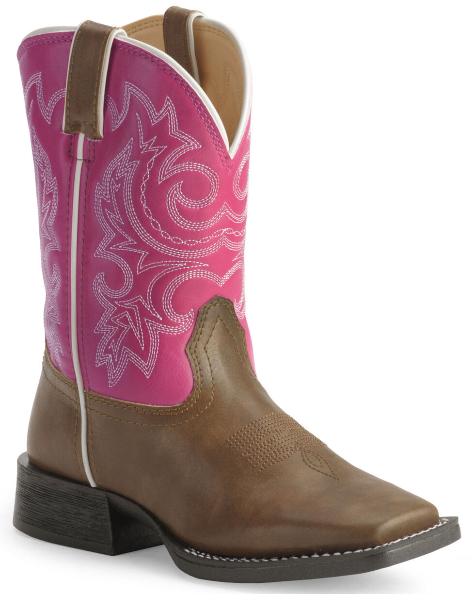 """DWBT064 13M NEW Durango KID/'S 8/"""" Lil/' Rebelicios PINK /& BROWN PULL ON BOOTS"""