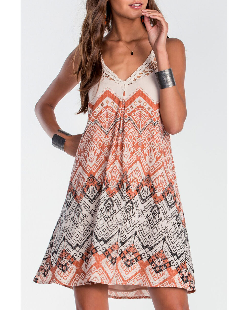 Miss Me Women's Taupe Tuscan Dreams Sleeveless Crochet Dress , Taupe, hi-res