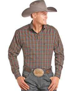 Tuf Cooper Men's Orange Stretch Plaid Long Sleeve Western Shirt , Orange, hi-res