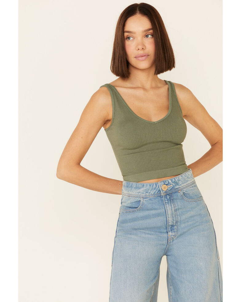 Free People Women's Solid Moss Rib-Knit Crop Cami , Olive, hi-res