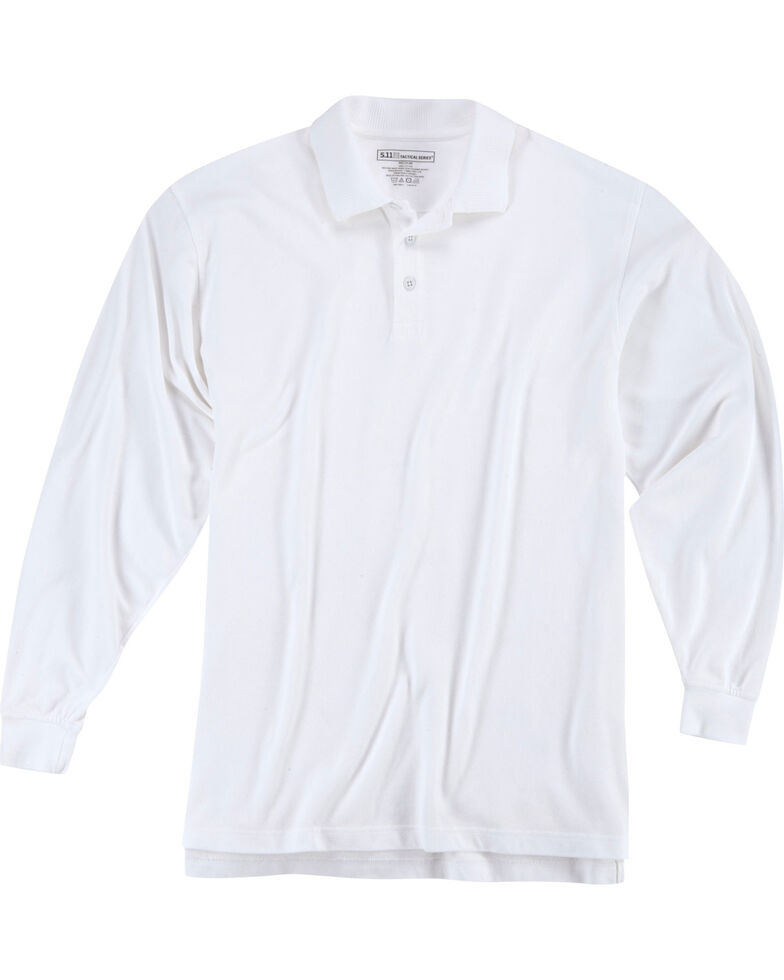 5.11 Tactical Utility Long Sleeve Polo Shirt, White, hi-res
