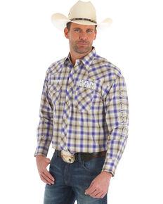 Wrangler Men's Ram Logo Plaid Long Sleeve Western Shirt , Purple, hi-res