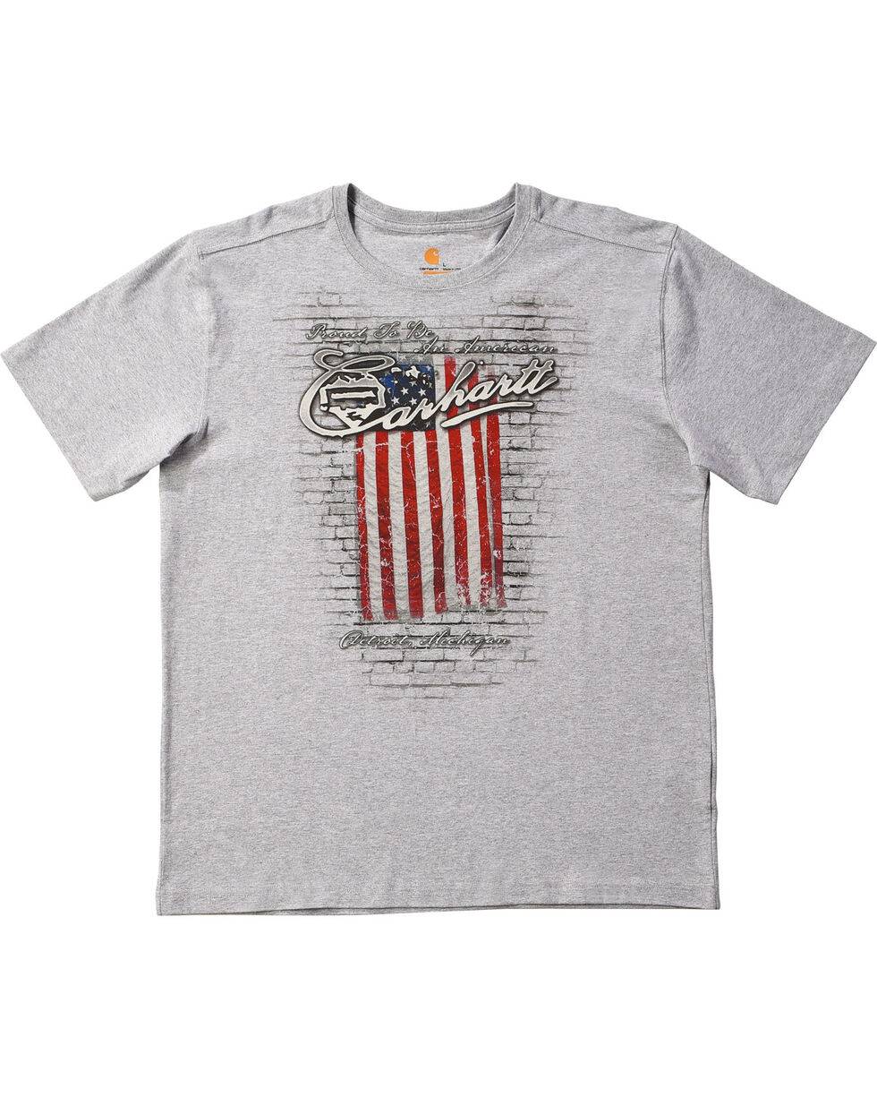 Carhartt Men's Proud To Be An American Short Sleeve T-Shirt, Grey, hi-res