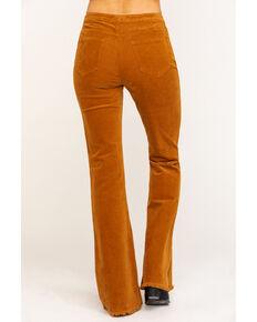 Cello Women's Corduroy Frayed Super Flare Pants, Tan, hi-res