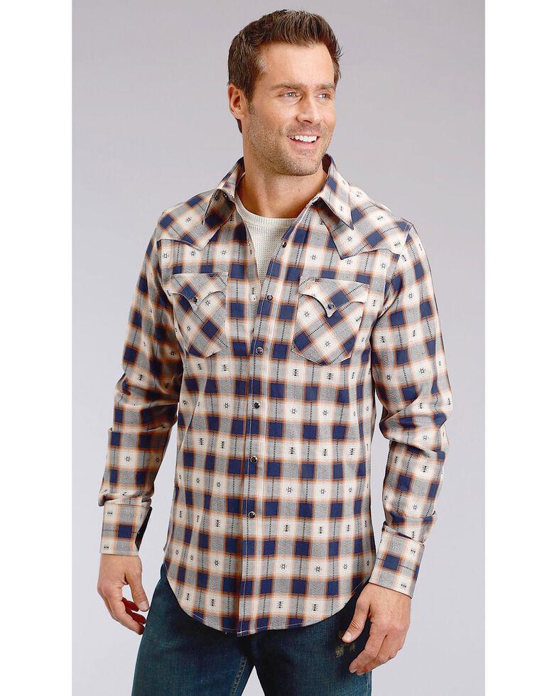 Stetson Men's Modern Fit Dobby Plaid Long Sleeve Snap Shirt, Blue, hi-res