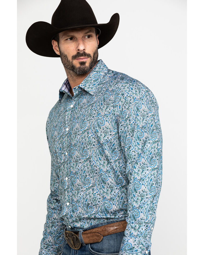 Scully Signature Soft Series Men's Turquoise Paisley Print Long Sleeve Western Shirt  , Turquoise, hi-res