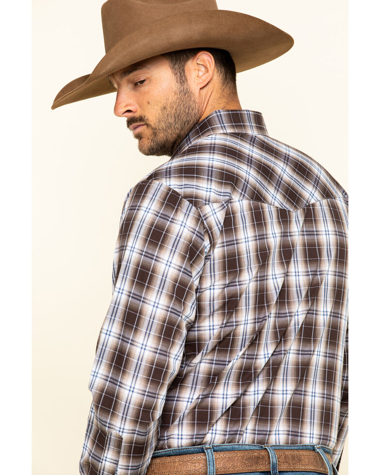 Ely Cattleman Men's Brown Med Plaid Long Sleeve Western Shirt - Tall , Brown, hi-res