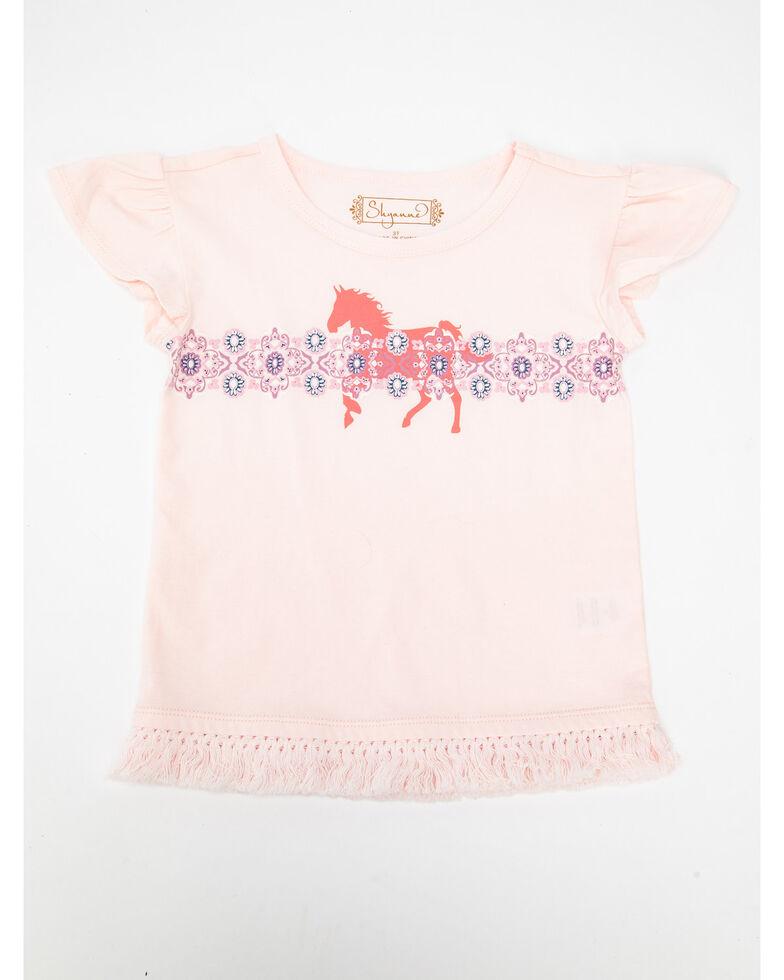 Shyanne Toddler Girls' Horse Fringe Flutter Sleeve Top, Pink, hi-res