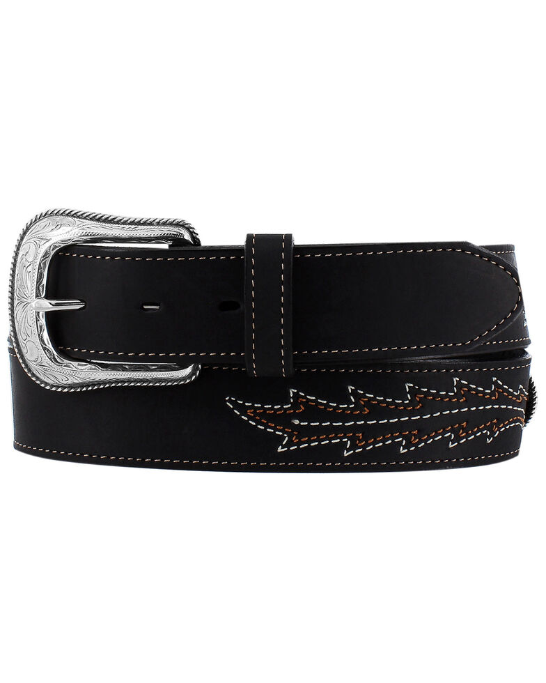 Leegin Men's Black Caddo Western Belt, Black, hi-res