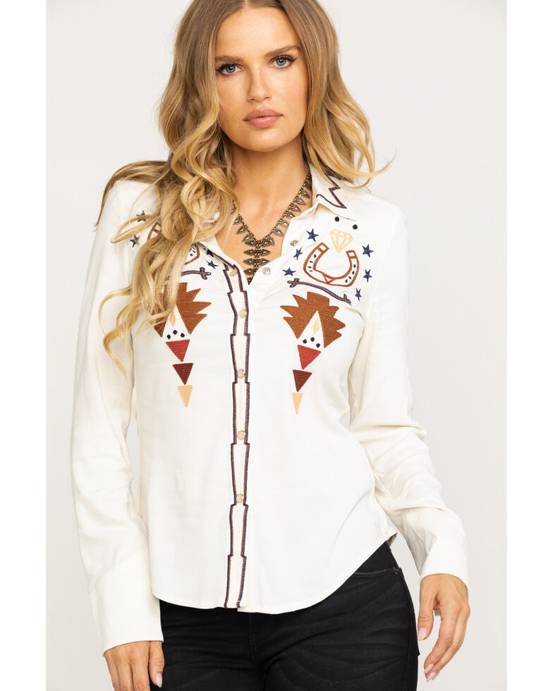 Idyllwind Women's Instant Fame Western Shirt, Ivory, hi-res