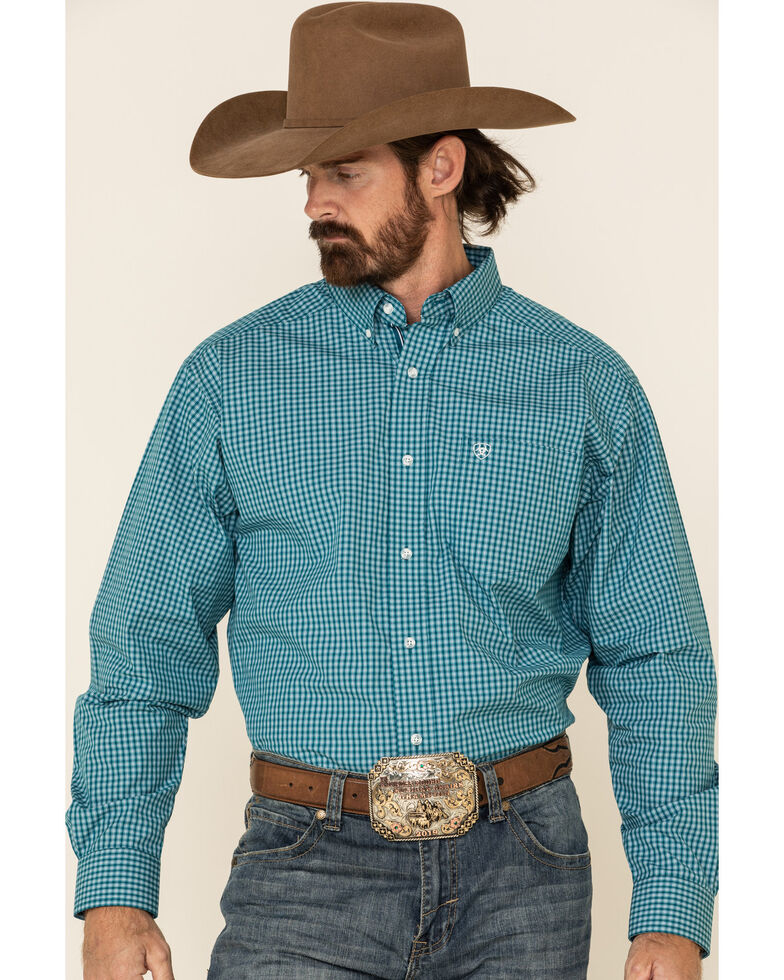 Ariat Men's Olympias Small Plaid Long Sleeve Western Shirt, Teal, hi-res