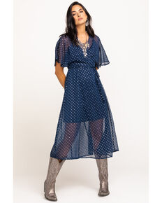 En Creme Women's Navy Foil Star Print Wrap Dress, Navy, hi-res