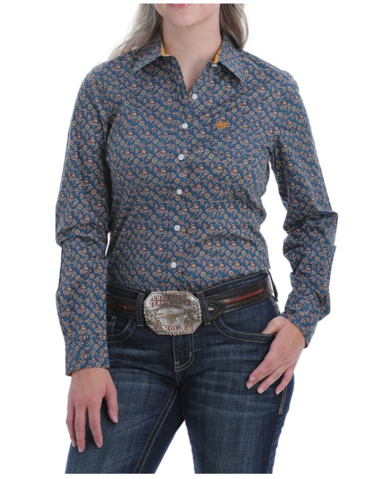 Cinch Women's Blue Paisley Button Long Sleeve Western Shirt, Blue, hi-res