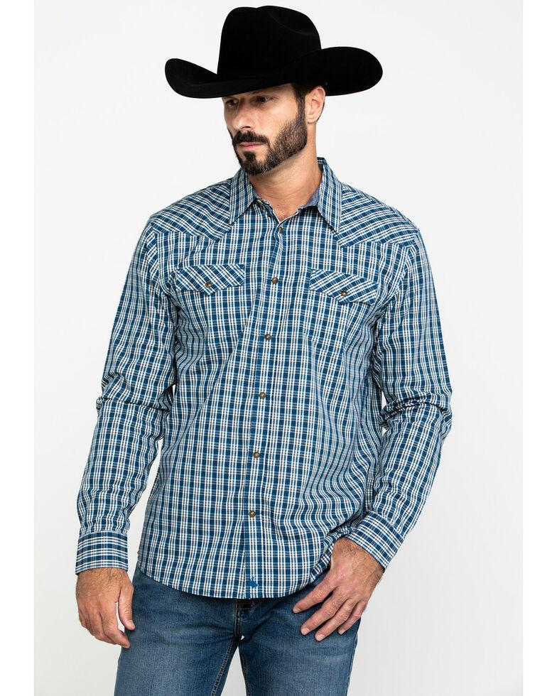 Cody James Men's Harvest Check Plaid Long Sleeve Western Shirt , Blue, hi-res