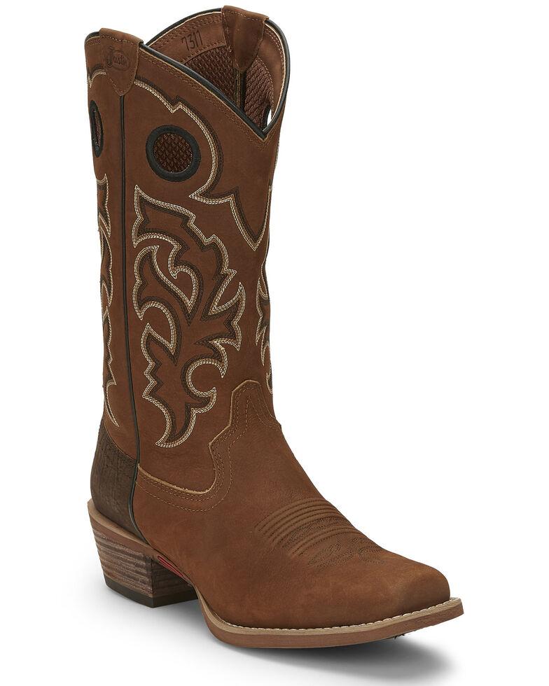 Justin Men's Puncher Tan Western Boots - Square Toe, Tan, hi-res