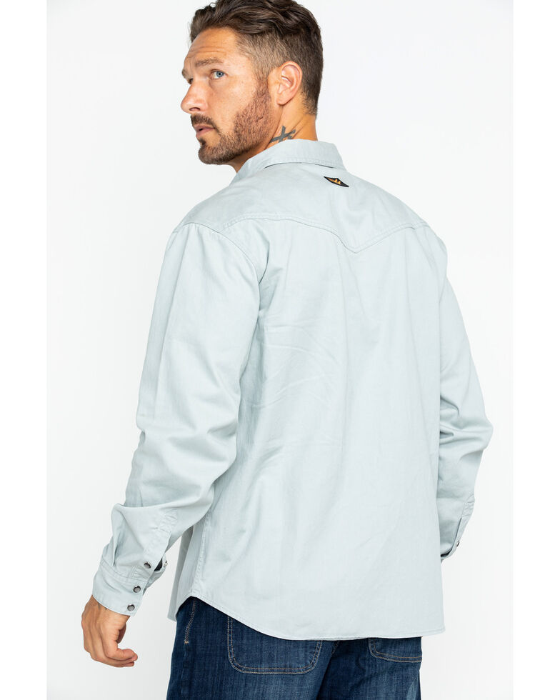Hawx Men's Solid Twill Snap Long Sleeve Work Shirt , Grey, hi-res