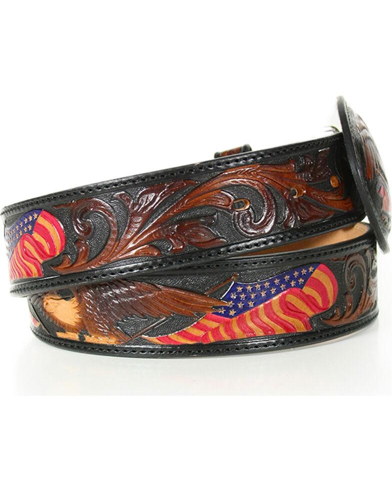 Silver Creek Men's Belt Tooled American Heritage Belt, Brown, hi-res