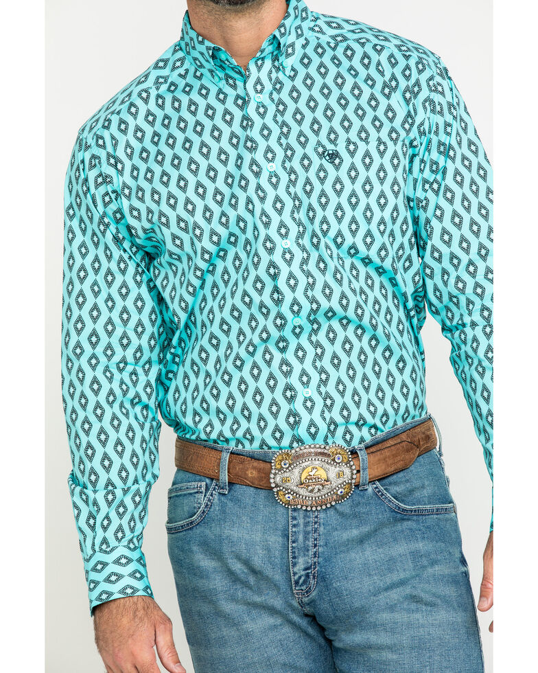 Ariat Men's Kulpten Stretch Geo Print Long Sleeve Western Shirt , Blue, hi-res