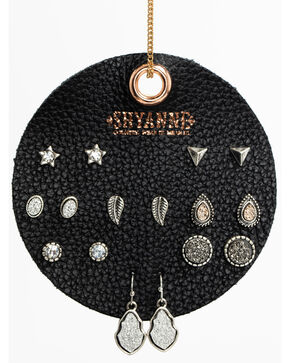 Shyanne Women's White Druzy 8 Pack Earring Patch Set, Silver, hi-res