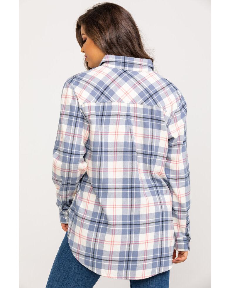 Wrangler Women's Ivory & Blue Plaid Flannel, Ivory, hi-res