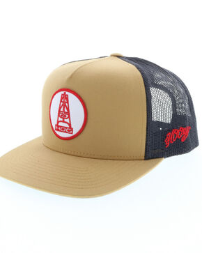 HOOey Men's Rose Oil Rig Trucker Cap, Beige/khaki, hi-res