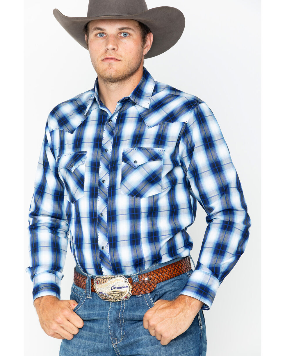 Wrangler Men's Blue Fashion Plaid Western Shirt , Blue, hi-res