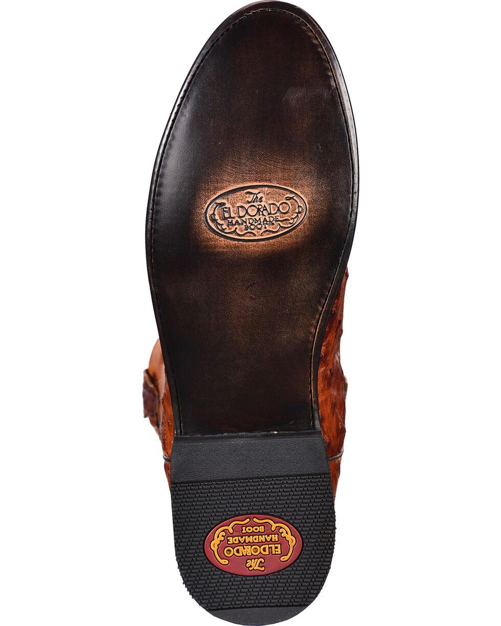 El Dorado Men's Handmade Full Quill Ostrich Roper Boots – Round Toe, Cognac, hi-res