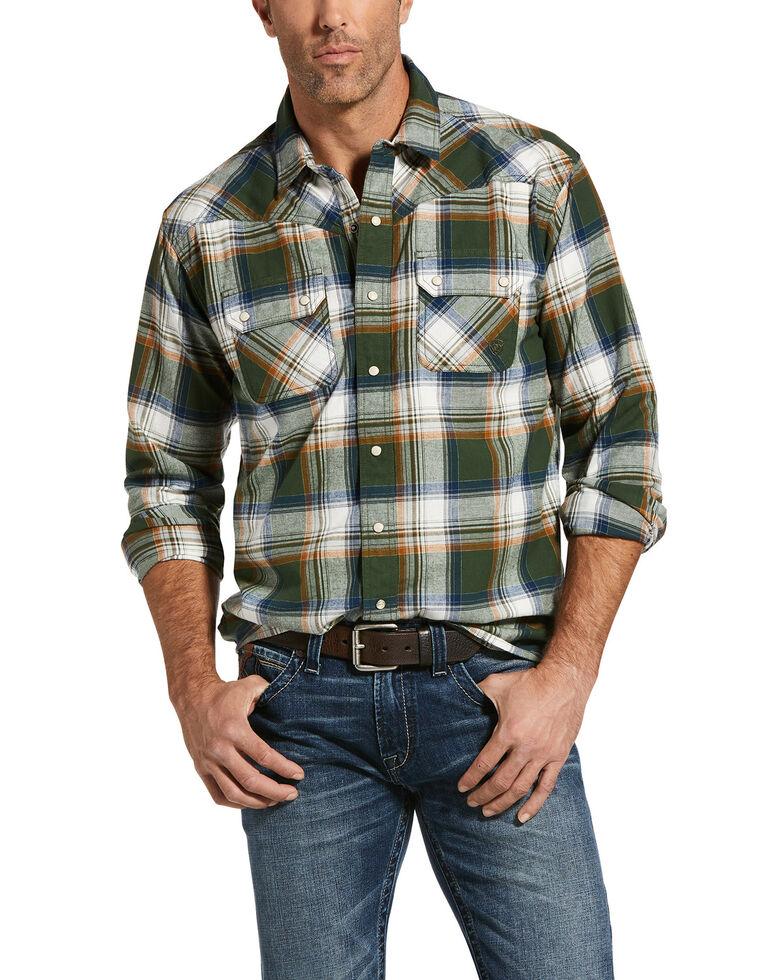 Ariat Men's Green Hacienda Retro Large Plaid Long Sleeve Western Shirt , Green, hi-res