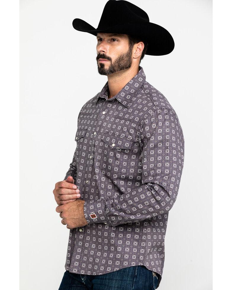 Rock & Roll Cowboy Men's FR Printed Floral Twill Long Sleeve Work Shirt - Big , Charcoal, hi-res