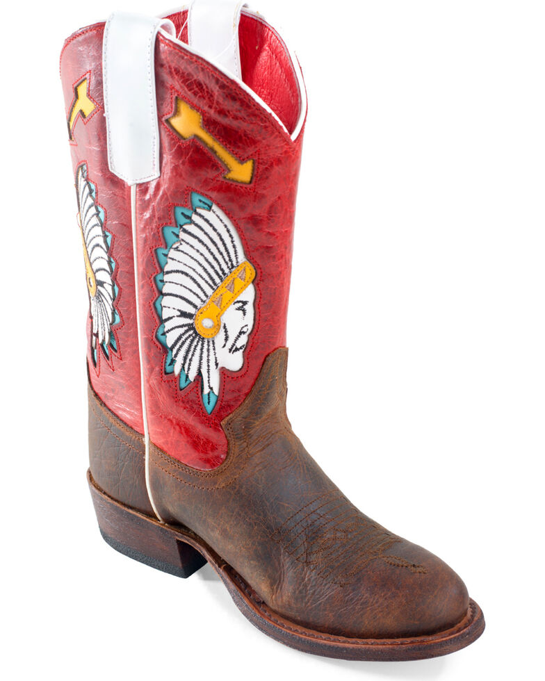 "Macie Bean Girls' ""Chief So Cute"" Cowgirl Boots - Round Toe, Brown, hi-res"