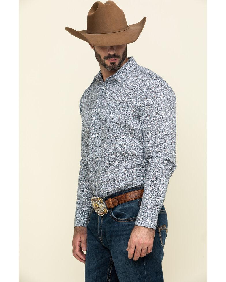 Gibson Men's Kaleidoscope Geo Print Long Sleeve Western Shirt  , White, hi-res