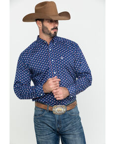 Ariat Men's Glenvar Stretch Aztec Print Long Sleeve Western Shirt - Tall , Blue, hi-res